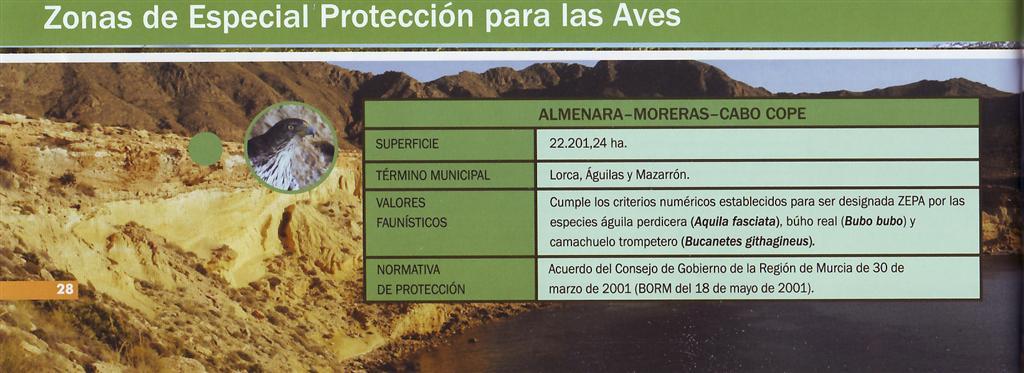 La Sierra de las Moreras es ZEPA