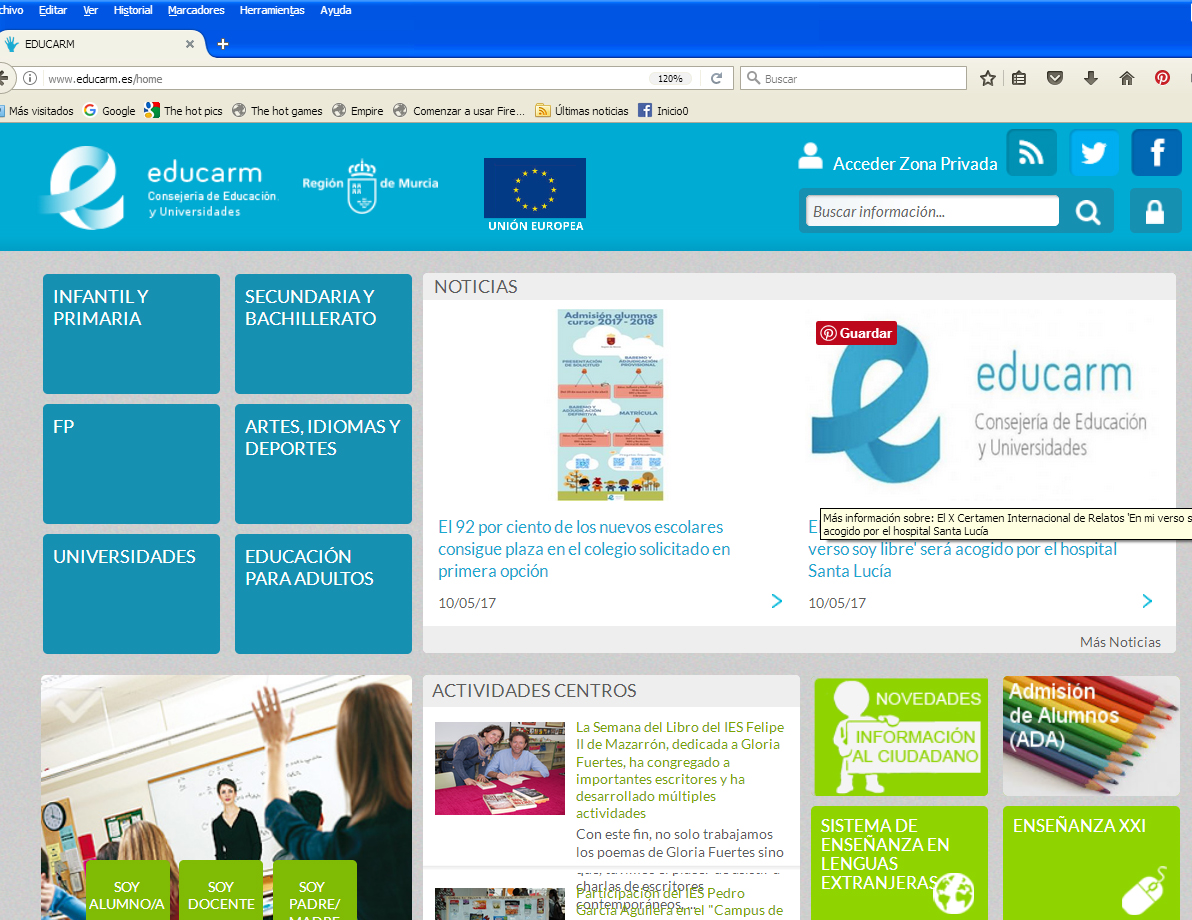 El IES Felipe II en el portal educarm