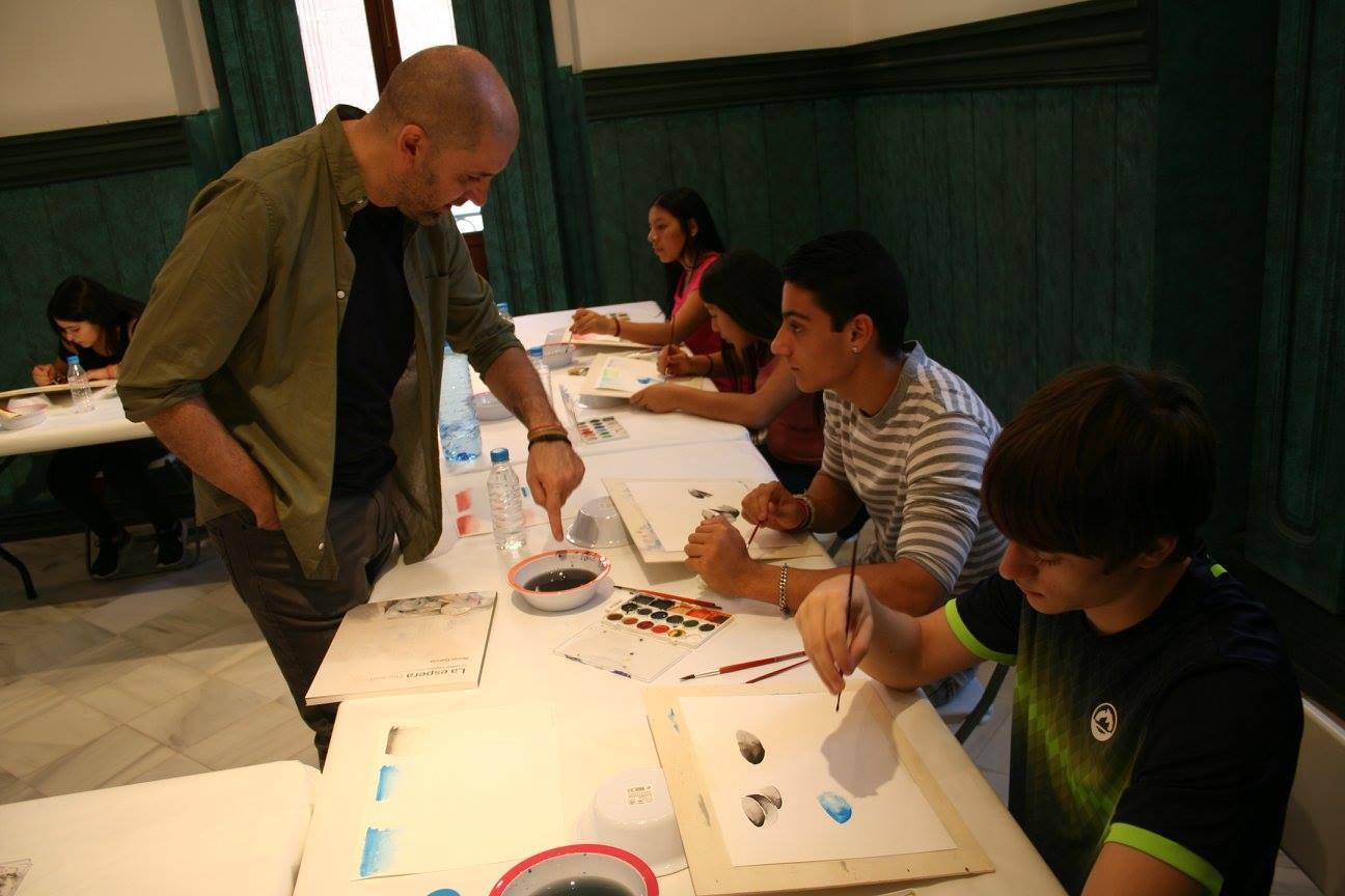 Los alumnos Plástica de 4º ESO participan en la Clase Magistral de Acuarela de Nono García